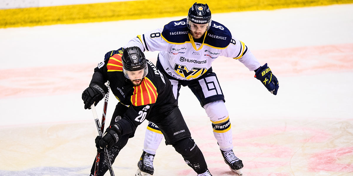 Brynäs Oula Palve och HV71:s Jordan Murray